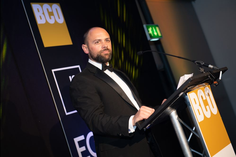 Alistair Allison gives his Judge's Chair speech at the BCO South Awards